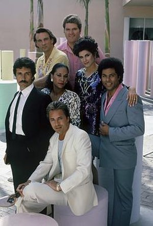 Miami Vice - Group photo of the cast members of Miami Vice (from left to right): (top) John Diehl, Michael Talbott, Saundra Santiago (middle) Edward James Olmos, Olivia Brown, Philip Michael Thomas (bottom) Don Johnson, taken during the second season.