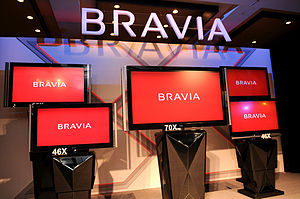Bravia (brand) - Bravia's Flagship X series as of October 2008   From left to right: XBR8, XBR7 and XBR6 (North American model type)