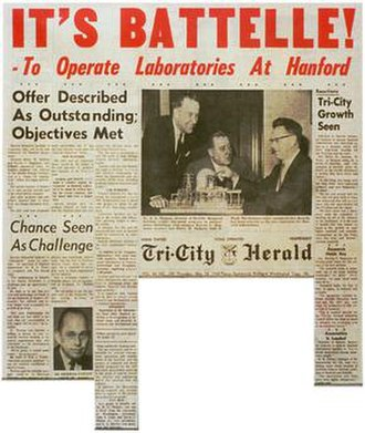Pacific Northwest National Laboratory - This November 1964 Tri-City Herald newspaper clip announces Battelle has been selected to manage the new Pacific Northwest Laboratory in Richland beginning in January 1965.