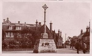 The Old School House and new war memorial, 1921