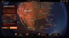 Promotional screenshot of the prototype version of Phoenix Point's Geoscape indicating that a city-sized land-walking Behemoth is detected.