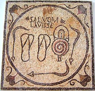 "Thermae - Mosaic bath sign from Sabratha, Libya, showing bathing sandals, three strigils, and the slogan SALVOM LAVISSE, ""A bath is good for you"""
