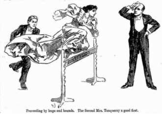 "cartoon showing a young woman in Victorian evening dress leaping over a hurdle on which the word ""convention"" is painted; she is followed by one man in evening dress and watched by another, who is mopping his brow in relief"