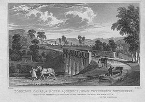 Annery kiln - Beam Aqueduct on the Rolle or Torridge Canal near Annery, circa 1830.
