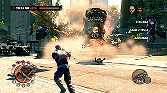 Saints Row: The Third - Screenshot of gameplay: a vehicle explodes and ambient challenge progress is displayed on the right