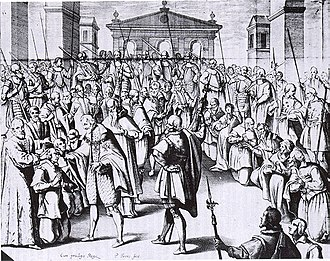 Henry IV of France's succession -  Henry IV of France touching for scrofula, in an engraving of 1609