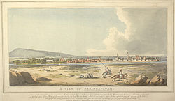 Panorama of a river island town, with pink pagoda-like structures and white minarets, and the river surrounding it. In the foreground two horse-riders scatter in different directions; in the distance, a gray hill rises on the left