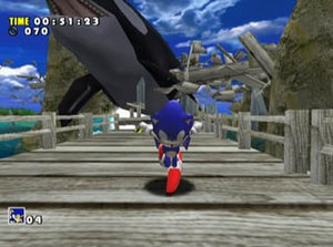 Sonic Adventure - Gameplay screenshot showing Sonic in one of the game's levels