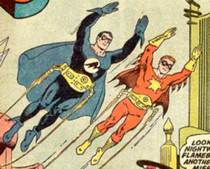 Flamebird - Superman as Nightwing (left) and Jimmy Olsen as Flamebird (right) in the bottle city of Kandor. Art by Curt Swan.