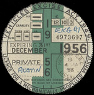 Vehicle licence - A 1956 UK tax disc