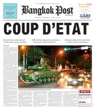 2006 Thai coup d'état - Front page of the Bangkok Post, 20 September 2006
