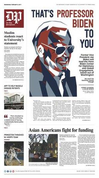 The Daily Pennsylvanian - Cover of The Daily Pennsylvanian (February 8, 2017), highlighting Joe Biden's new job at The University of Pennsylvania.