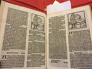 Grete Herball - Pages showing multiple use of the same woodcut and repairs, Grete Herball, 1526