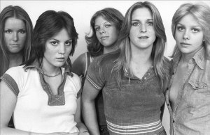 Queens of Noise - The Runaways' line-up that produced and recorded Queens of Noise. From left to right, Lita Ford, Joan Jett, Jackie Fox, Sandy West, and Cherie Currie.