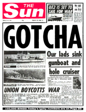 Kelvin MacKenzie - The sinking of the Belgrano was celebrated on the front page of the British tabloid newspaper The Sun