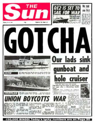 "ARA General Belgrano - The notorious ""Gotcha"" headline"