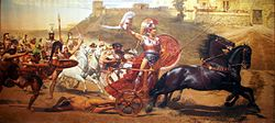Triumphant Achilles dragging Hector's lifeless body in front of the Gates of Troy. (From a panoramic fresco on the upper level of the main hall of the Achilleion)