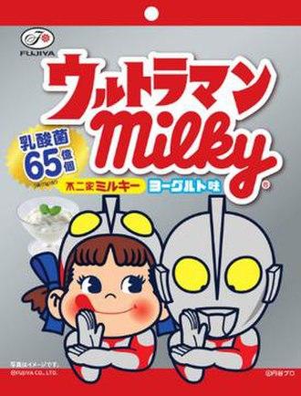 Ultraman (character) - Ultraman Milky, a result of a joint collaboration between Ultraman (right) and Fujiya Co.'s mascot Peko-chan (left), cosplaying as Ultraman.