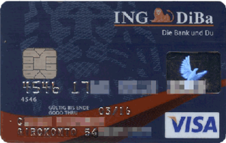 Visa Debit - A Visa credit card issued by ING-DiBa. The logo and BIN (454617) identify this card as a credit card although it is linked to a checking account (Girokonto).