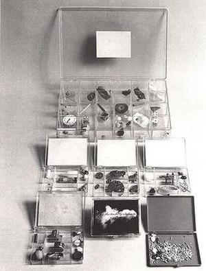 Robert Watts (artist) - A number of versions of the Flux Timekit, 1967, by Robert Watts, collecting together objects that exist in different time scales.