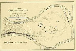 Mound Bottom - 1923 map of Mound bottom prepared by Crawford C. Anderson