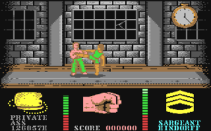 19 Part One: Boot Camp - In-game screen from the Commodore 64 version of the game