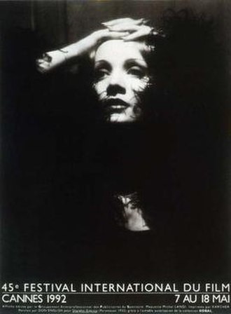 1992 Cannes Film Festival - Official poster of the 45th Cannes Film Festival, featuring a portrait of German actress Marlene Dietrich by Don English.