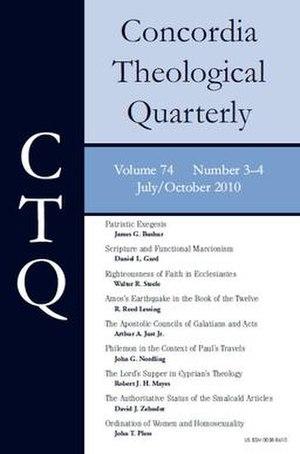 Concordia Theological Quarterly - Image: Concordia Theological Quarterly cover