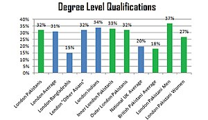 Pakistani community of London - Degree Level Qualifications