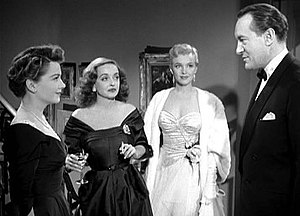 All About Eve - A young and then-unknown Marilyn Monroe as Miss Casswell in a scene with Anne Baxter, Bette Davis, and George Sanders