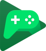 Green gamepad inside of a green triangle, used to distinguish the Google Play Games service