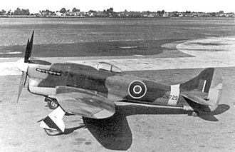 Hawker Tempest - The first production Tempest V JN729. Small blisters streamlining the aft upper wing attachment bolts are visible on the wing root fairing. Long-barrelled Hispano II cannon and Typhoon five-spoke mainwheels were other identifying features of the first production batch of 100 Tempests Vs.