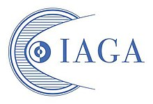 "Stylized line drawing of circles symbolizing orbits in the Solar System, with letters ""IAGA"" to the right. Dark blue lines on white."