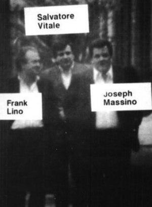 Joseph Massino - FBI surveillance photograph of Joseph Massino, Salvatore Vitale and Frank Lino. The three men are headed to the wake of former Gambino crime family underboss Frank DeCicco, in April 1986.