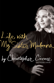 A black-and-white image of Madonna on the right of the book cover, with her hand on her waist, and looking to the right. The book title and author names are written in cursive script.