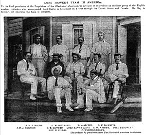 George Hillyard - Lord Hawke's cricket team to North America in 1891/92. Hillyard is in the back row, 2nd from left.
