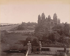 University of Madras - The Madras University Senate House and Marina Beach, 1905