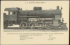 Chemins de Fer Ottomans d'Anatolie - A steam locomotive made by J. A. Maffei, Germany for the Anatolian Railway.