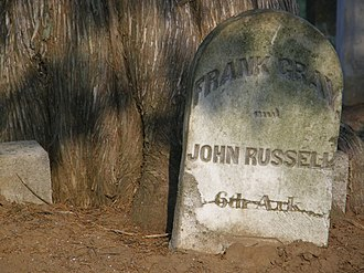 McGavock Confederate Cemetery - Headstone of John Russell, 6th Arkansas, killed at Franklin