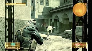 Metal Gear Solid 4: Guns of the Patriots - Solid Snake shooting a militiaman.