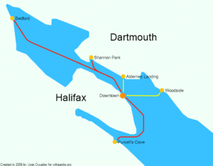 Halifax–Dartmouth Ferry Service - Halifax Transit ferry routes. Yellow lines indicate existing routes, and red lines indicate possible new routes served by high-speed ferries.