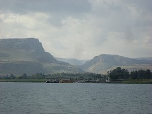 Mount Arbel - Mount Arbel (left), the valley of Wadi Hamam, and Mount Nitai (right) seen from across the Sea of Galilee