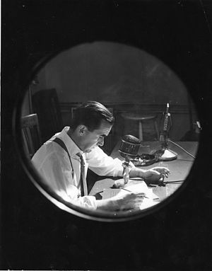 Edward R. Murrow at work with CBS, 1957.