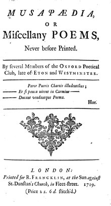 Title page to Musapaedia, a miscellany from 1719