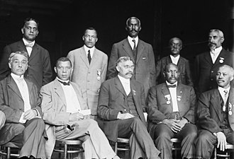 Civil rights movement (1896–1954) - Executive Committee of the National Negro Business League, c. 1910. NNBL founder Booker T. Washington (1856–1915) is seated, second from the left.