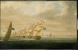 Assault on Cádiz (1797) - Nelson's Blockading Squadron at Cadiz 1797 by T. Buttersworth, oil on canvas.