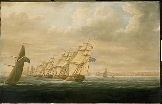 Assault on Cádiz - Nelson's Blockading Squadron at Cadiz 1797 by T. Buttersworth, oil on canvas.