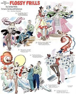 Comic strip - Russell Patterson and Carolyn Wells' New Adventures of Flossy Frills (January 26, 1941), an example of comic strips on Sunday magazines.