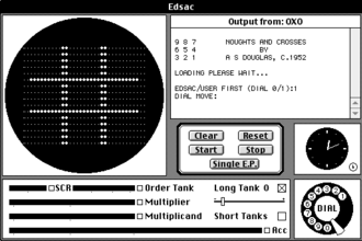 OXO - OXO played in an EDSAC simulator for the Classic Mac OS