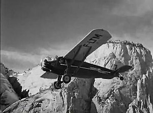 Only Angels Have Wings -  The Pilgrim Model 100-B airliner was prominently featured against a backdrop of the Rocky Mountains, standing in for the Andes Mountains.
